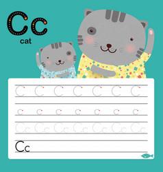 alphabet c tracing worksheet for preschool vector image