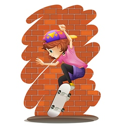 An energetic little girl skateboarding vector image