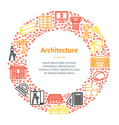 architecture thin line banner card circle vector image