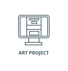 art project line icon art project outline vector image