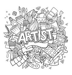 Artist hand lettering and doodles elements emblem vector image