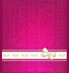 Background with lace satin ribbon and lacing vector