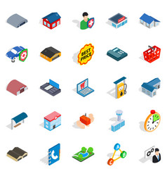 Bail icons set isometric style vector