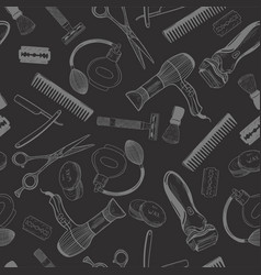 barbershop tools on a black background seamless vector image