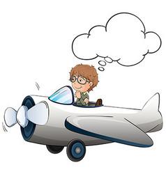 Boy flying jet plane in sky vector