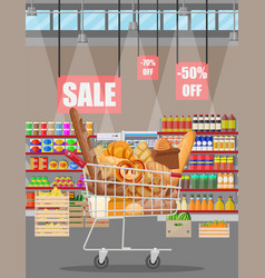 bread products shopping cart supermarket interior vector image