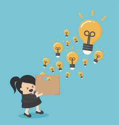 businesswoman hold boxes creativity vector image