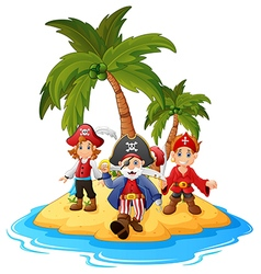 cartoon pirate in the island vector image