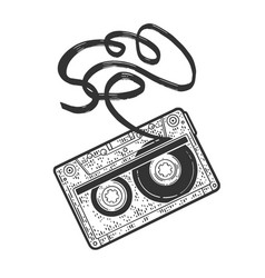 Cassette tape sketch vector