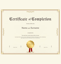 Certificate completion template in vintage vector