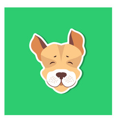 Cheerful muzzle of jack russell terrier flat icon vector