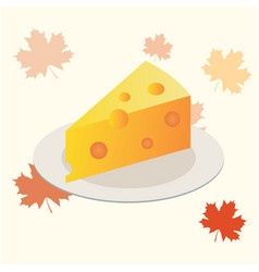 Cheese piece on a plate flat icon vector