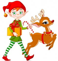 Christmas elf and rudolph vector