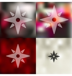Compass icon on blurred background vector