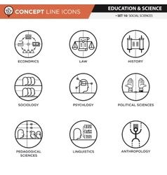 Concept Line Icons Set 10 Social sciences vector