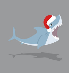 cute shark open mouth with red hat vector image