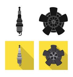 Design of auto and part icon set of auto vector