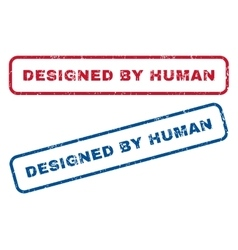 Designed by human rubber stamps vector