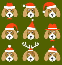 dogs with santa hats vector image