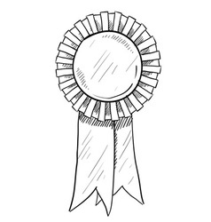 doodle award ribbon vector image