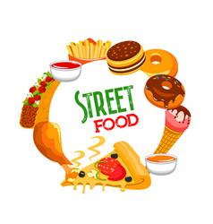 fast food round banner street cafe meals vector image