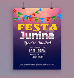 festa junina greeting card invitation design vector image