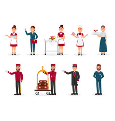 flat set of hotel staff maid with clean vector image