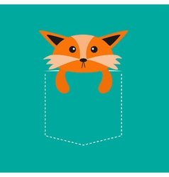 Fox in the pocket Cute cartoon character Dash line vector