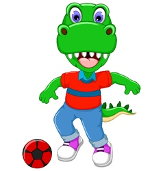 funny dinosaur cartoon playing football vector image