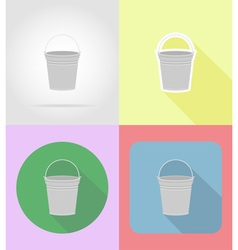 garden tools flat icons 06 vector image