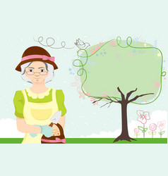 gardening lady vector image