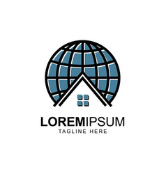 Globe with house symbol logo design vector