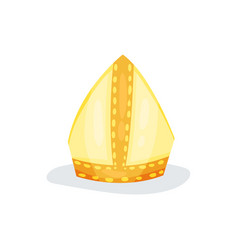 Golden papal tiara or pope tiara shiny gold hat vector