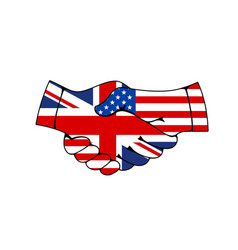 Great britain and usa hand shake flags treaty vector