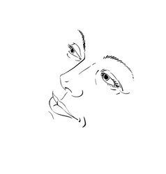 Hand-drawn of woman face black and white mask vector