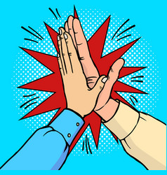 hands high five pop art vector image
