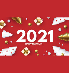 happy new 2021 year holiday greeting with 3d fir vector image