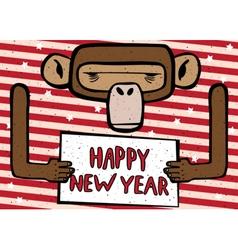 Happy new year funny monkey vector