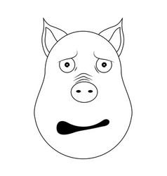 head of afraid pig in outline style kawaii animal vector image