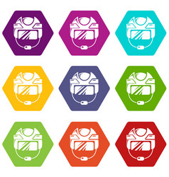hockey helmet icons set 9 vector image