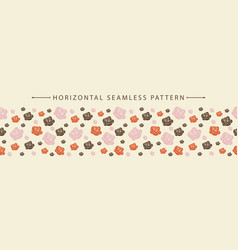 Horizontal seamless border with beautiful floral vector