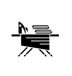 ironing board black icon sign on isolated vector image