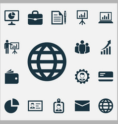 Job icons set includes icons such as presentation vector