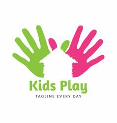 Kids home logo design template vector