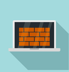 Laptop firewall icon flat style vector