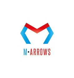 Letter M logo arrows red and blue color direction vector image
