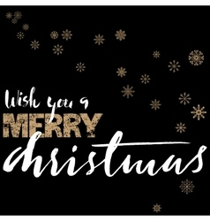 Merry christmas gold and white lettering design on vector