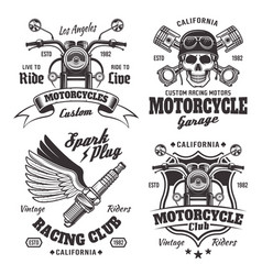 mmotorcycles emblems labels in monochrome style vector image