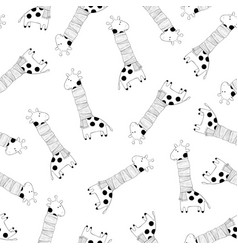 monochrome seamless pattern with giraffes vector image
