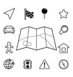 Navigation iconset contour flat vector image